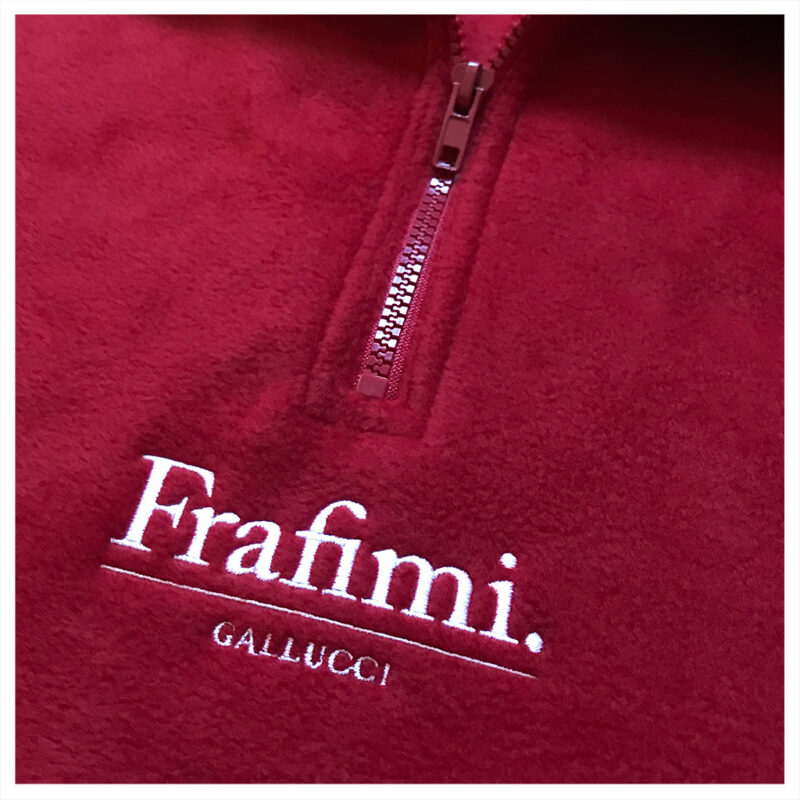 Embroidered Logo Fleece – Sangria Red (Detail)
